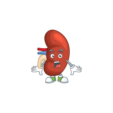 A cartoon design of right human kidney showing an amazed gesture. Vector illustration