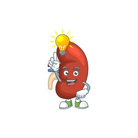 A genius right human kidney mascot character design have an idea. Vector illustration Vettoriali