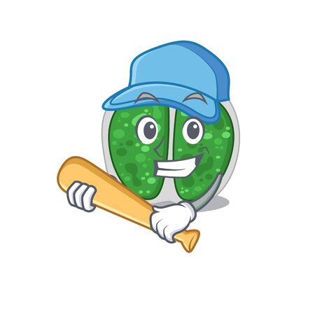 Picture of chroococcales bacteria cartoon character playing baseball