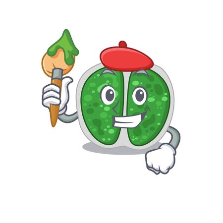 A creative chroococcales bacteria artist mascot design style paint with a brush