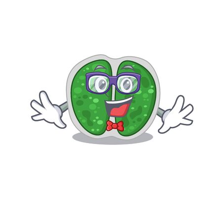 Mascot design style of geek chroococcales bacteria with glasses