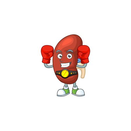 A sporty leaf human kidney boxing athlete cartoon mascot design style