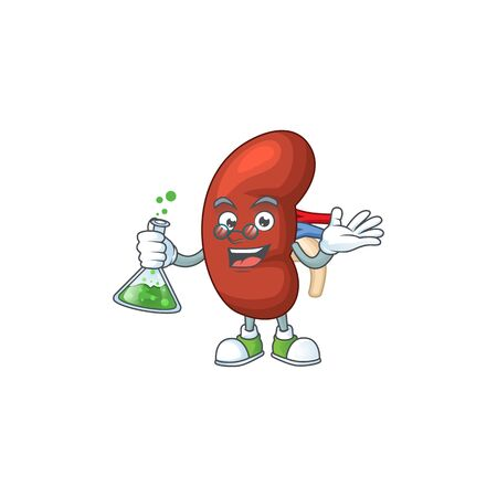 Leaf human kidney genius Professor Cartoon character holding glass tube