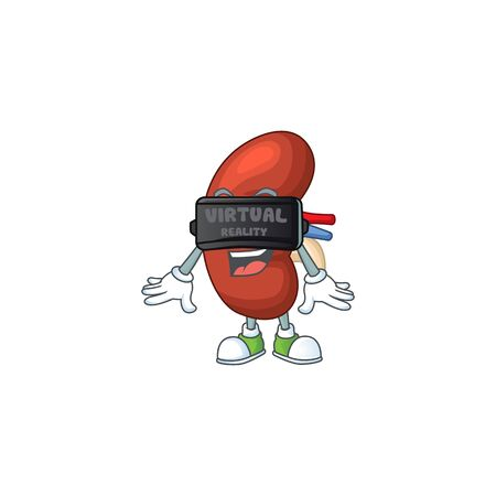A cartoon mascot of leaf human kidney enjoying game with Virtual reality headset