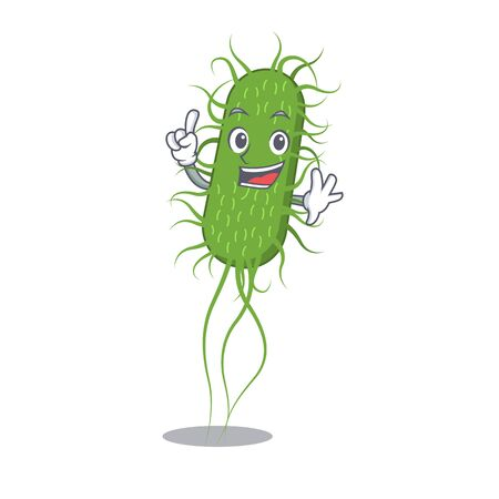 E.coli bacteria mascot character design with one finger gesture. Vector illustration Vektorgrafik