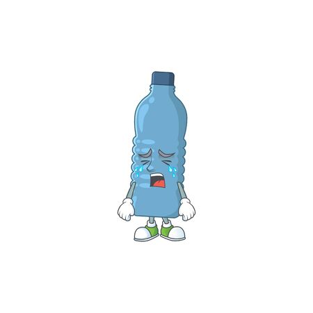 A weeping mineral bottle cartoon character concept. Vector illustration