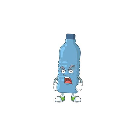 Mineral bottle cartoon character design with mad face. Vector illustration