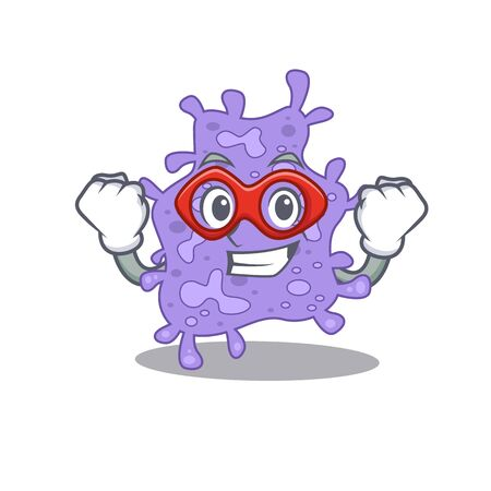 A cartoon character of staphylococcus aureus performed as a Super hero