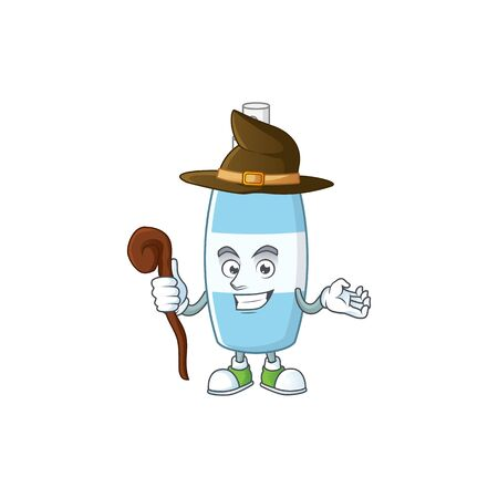 Cute and sneaky Witch spray hand sanitizer cartoon design style. Vector illustration Illustration