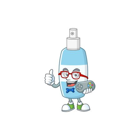 Spray hand sanitizer talented gamer mascot design play game with controller. Vector illustration