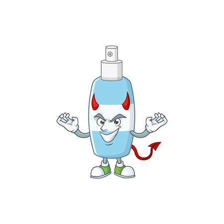 A picture of devil spray hand sanitizer cartoon character design. Vector illustration Illustration