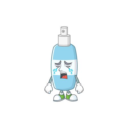 A weeping spray hand sanitizer cartoon character concept. Vector illustration