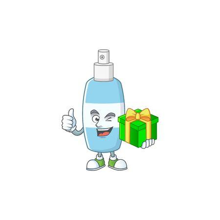 Smiley spray hand sanitizer cartoon character holding a gift box. Vector illustration Illustration
