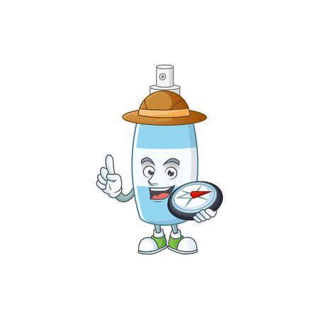 World explorer spray hand sanitizer cartoon design style using compass. Vector illustration