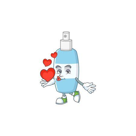 An adorable cartoon design of spray hand sanitizer holding heart. Vector illustration