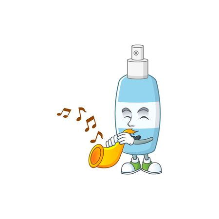 A brilliant musician of spray hand sanitizer cartoon character playing a trumpet. Vector illustration