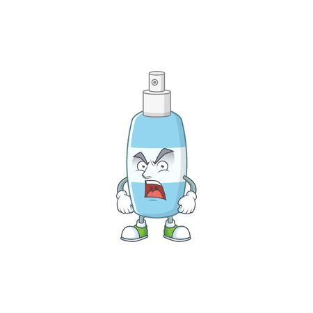 Spray hand sanitizer cartoon character design with mad face. Vector illustration