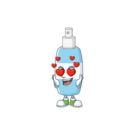 Charming spray hand sanitizer cartoon character with a falling in love face. Vector illustration