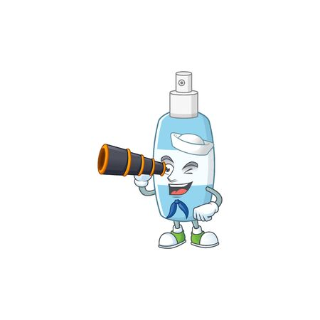 Spray hand sanitizer in Sailor cartoon character style using a binocular. Vector illustration