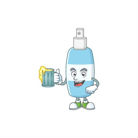 Happy spray hand sanitizer mascot style toast with a glass of beer. Vector illustration