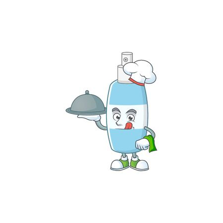 A spray hand sanitizer chef cartoon design with hat and tray. Vector illustration Illustration