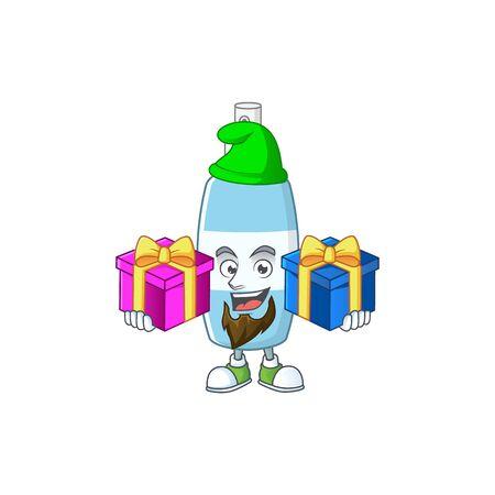 A smiling spray hand sanitizer cartoon design having Christmas gifts. Vector illustration