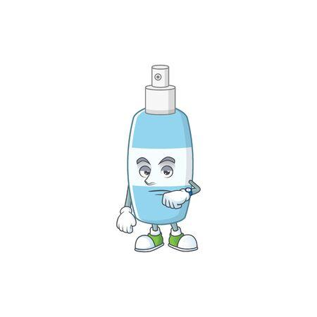 Spray hand sanitizer with waiting gesture cartoon mascot design concept. Vector illustration