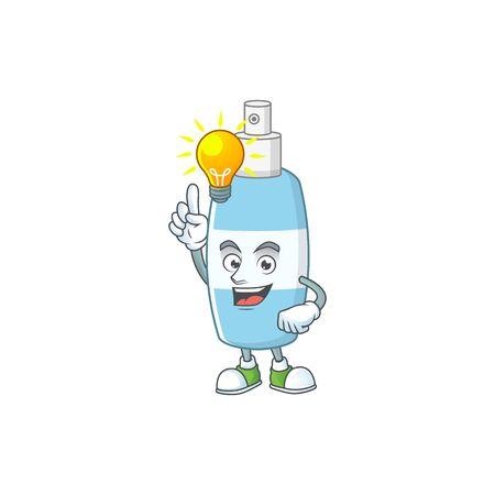 A genius spray hand sanitizer mascot character design have an idea. Vector illustration