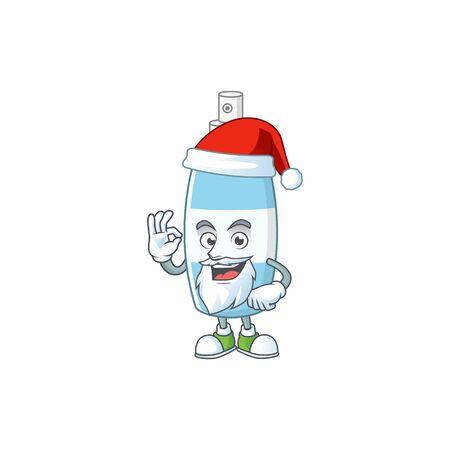Friendly spray hand sanitizer Santa cartoon character design with ok finger. Vector illustration