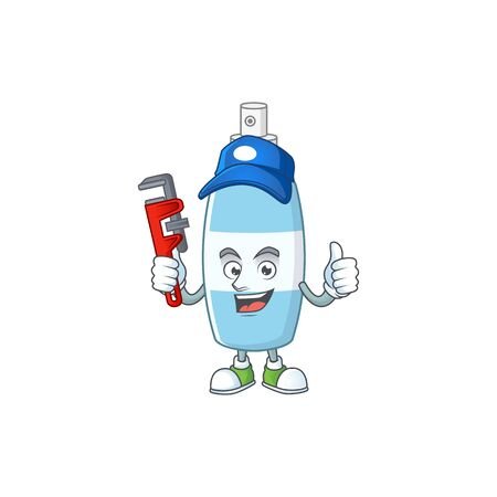 Mascot design concept of spray hand sanitizer work as smart Plumber. Vector illustration