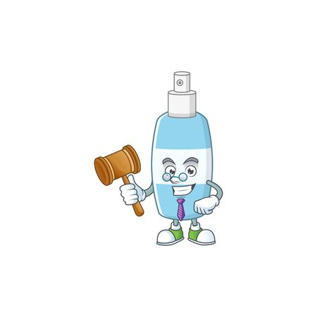 Charismatic Judge spray hand sanitizer cartoon character design with glasses. Vector illustration