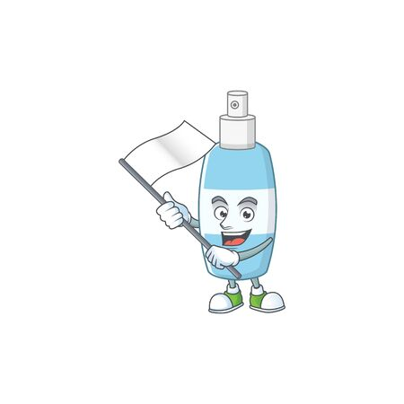 Cute cartoon character of spray hand sanitizer holding white flag. Vector illustration Illustration