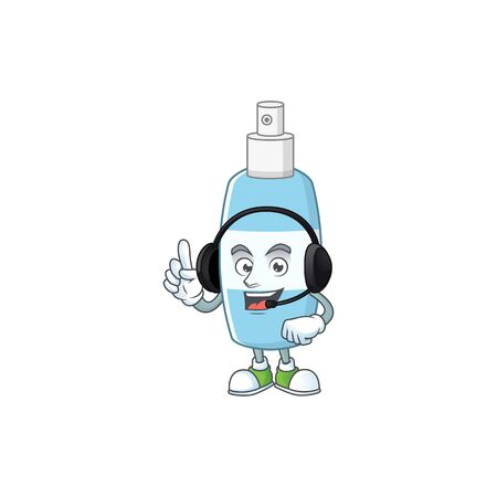 Spray hand sanitizer cartoon character style speaking on headphone. Vector illustration