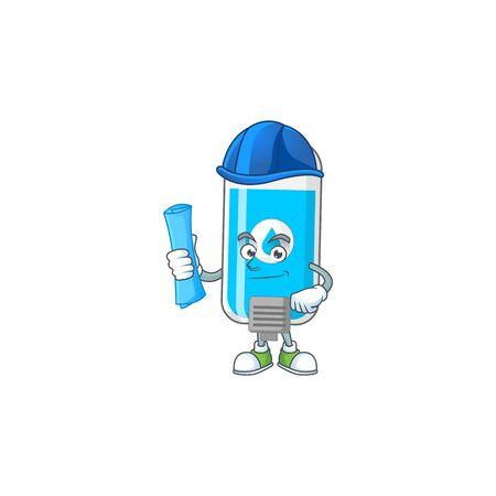 Talented Architect wall hand sanitizer cartoon design style having blue prints. Vector illustration Illustration