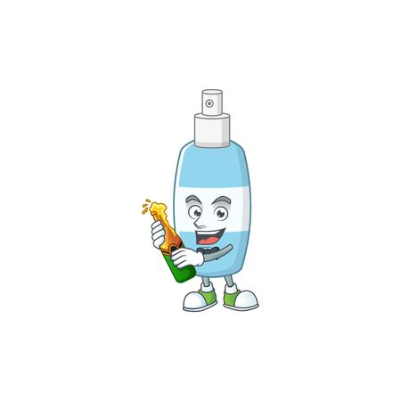 Mascot cartoon design of spray hand sanitizer making toast with a bottle of beer. Vector illustration