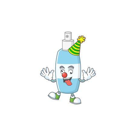 Amusing Clown spray hand sanitizer cartoon character mascot style. Vector illustration Illustration