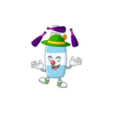mascot cartoon style of spray hand sanitizer playing Juggling on stage. Vector illustration Illustration