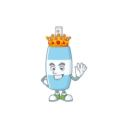 The Charismatic King of spray hand sanitizer cartoon character design wearing gold crown. Vector illustration Illustration