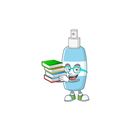 A mascot design of spray hand sanitizer student character with book. Vector illustration