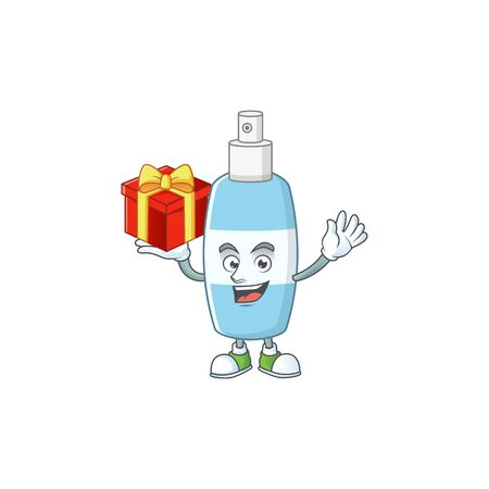 Charming spray hand sanitizer mascot design has a red box of gift. Vector illustration