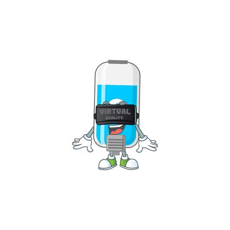 A cartoon mascot of wall hand sanitizer enjoying game with Virtual reality headset. Vector illustration Illustration