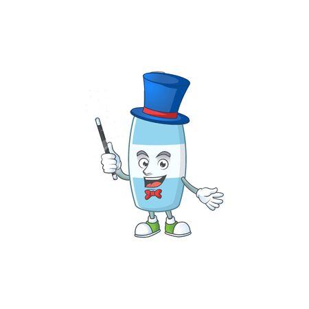 Talented spray hand sanitizer Magician cartoon design style. Vector illustration Illustration