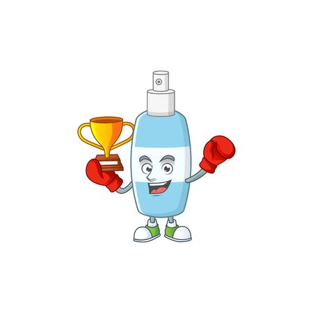 Proudly face of boxing winner spray hand sanitizer presented in cartoon character design. Vector illustration