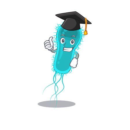 Happy face of escherichia coli bacteria in black graduation hat for the ceremony Çizim