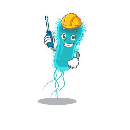 cartoon character of escherichia coli bacteria worked as an automotive