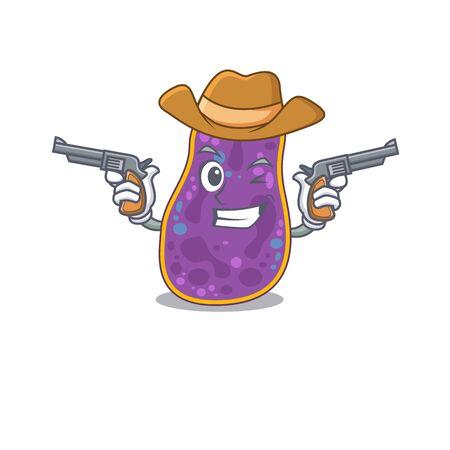Cute handsome cowboy of shigella sp. bacteria cartoon character with guns