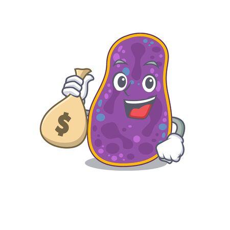 Rich shigella sp. bacteria cartoon design holds money bags Banco de Imagens - 145998311