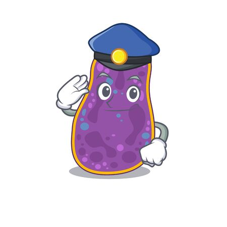 Police officer mascot design of shigella sp. bacteria wearing a hat. Vector illustration Vettoriali