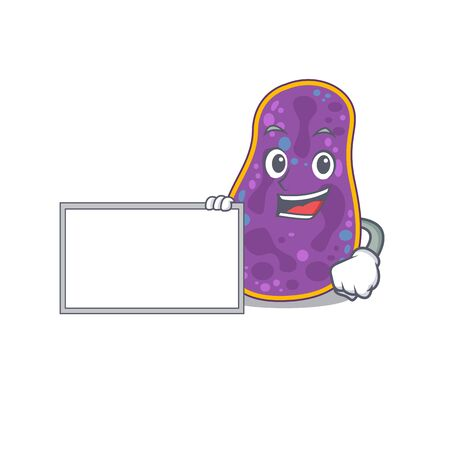 Shigella sp. bacteria cartoon character design style with board