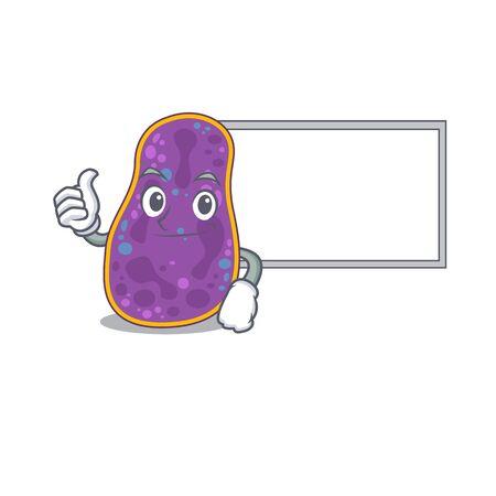 Humorous shigella sp. bacteria cartoon design Thumbs up bring a white board. Vector illustration